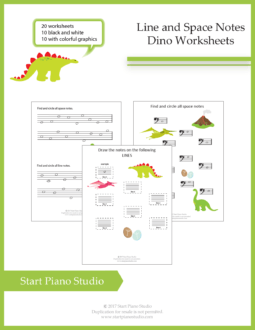 Teaching notes | Space and Line Notes DINO Exercise Booklet