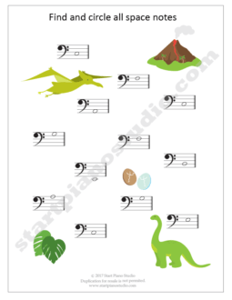 Teaching notes | Space and Line Notes DINO Exercise Booklet (Example 1)