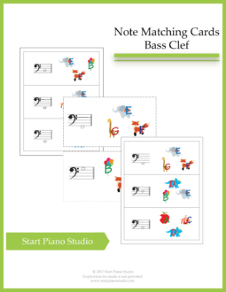 Worksheets | Teaching Aids | Note Matching Cards Bass Clef