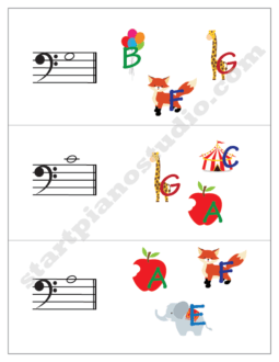 Worksheets | Teaching Aids | Note Matching Cards Bass Clef (Example 1)
