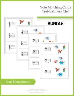 Worksheets | Teaching Aids | Note Matching Cards Treble and Bass Clef
