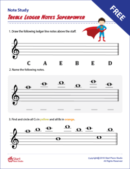 Treble Ledger Notes Superpower Note Study